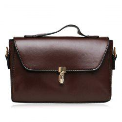 Push Lock Faux Leather Crossbody Bag