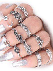 Moon Leaf Rose Flower Alloy Finger Ring Set - SILVER