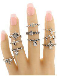 Starfish Tortoise Teardrop Leaf Alloy Fingertip Ring Set