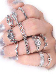 Sun Star Moon Flower Alloy Ring Set - SILVER