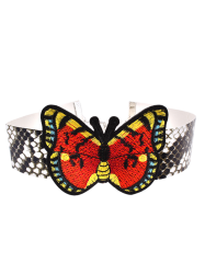 Snake Print Butterfly Embroidery Choker Necklace