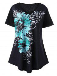 Plus Size V Neck Floral Graphic T-Shirt - BLACK