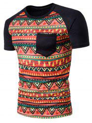 Crew Neck Geometric Tribal Print Pocket T-Shirt