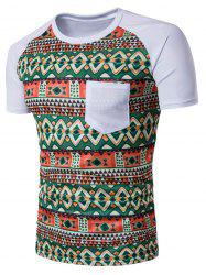 Raglan Sleeve Color Block Tribal Print Pocket T-Shirt