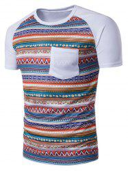 Raglan Sleeve Tribal Print Pocket T-Shirt