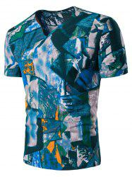 Color Block Ethnic Abstract Print Linen T-Shirt