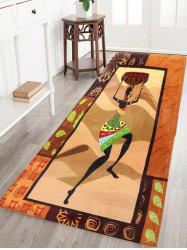 Figure Pattern Flannel Skid Resistant African Bathroom Rug - BROWN