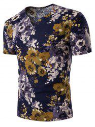 Short Sleeve V Neck Linen Floral T-Shirt
