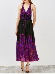 Peacock Print Backless Halter Neck Formal Long Dress - PURPLE