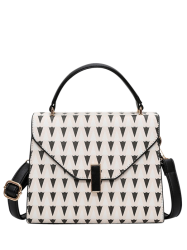 Geometric Print Faux Leather Handbag - OFF-WHITE