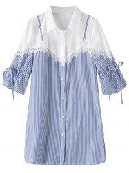 Lace Trim Stripe Plus Size Shirt