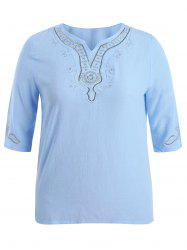 Plus Size Notched Embroidered  Peasant Tops