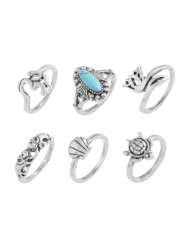 Alloy Faux Turquoise Elephant Tortoise Ring Set - SILVER