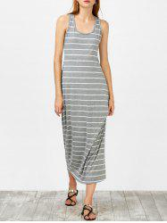 Tea Length Stripe Racerback Tank Dress - GRAY