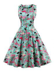 Vintage Floral Fit and Flare Dress - GREEN M