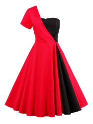 Two Tone One Shoulder Vintage Flowy Dress - RED
