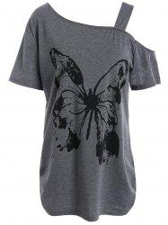 Long Cutout Shoulder Plus Size Butterfly Printed T-Shirt
