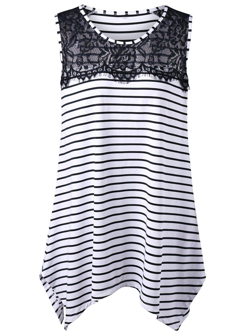 Long Lace Insert Plus Size Stripe TopWOMEN<br><br>Size: 4XL; Color: WHITE AND BLACK; Material: Cotton Blends,Polyester; Shirt Length: Long; Sleeve Length: Sleeveless; Collar: Round Neck; Style: Fashion; Season: Spring,Summer; Embellishment: Lace; Pattern Type: Striped; Weight: 0.2800kg; Package Contents: 1 x Top;