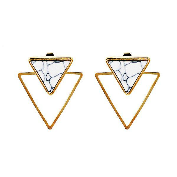 Vintage Rammel Triangle Ear JacketsJEWELRY<br><br>Color: GOLDEN; Earring Type: Earring Jackets; Gender: For Women; Style: Trendy; Shape/Pattern: Geometric; Length: 2.6CM; Weight: 0.0300kg; Package Contents: 1 x Earring (Pair);