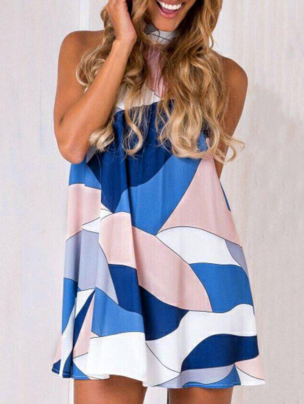Trendy Contrast High Neck Cut Out Dress