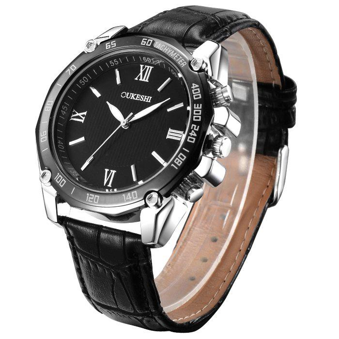Shop OUKESHI Faux Leather Strap Roman Numeral Watch
