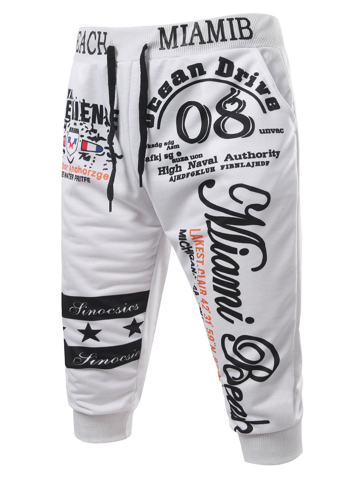 Cheap Casual Lace Up Letters Printed Cropped Jogger Pants