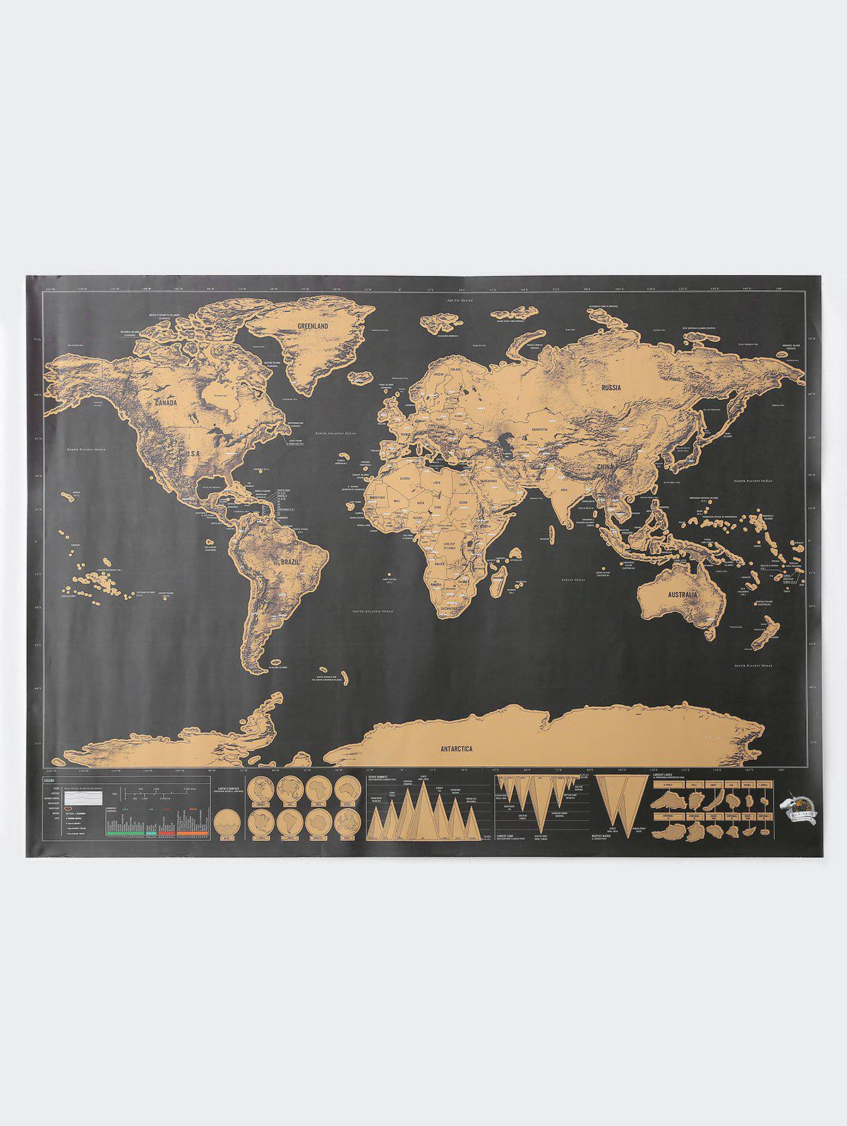 Scratch World Map Travel Edition DeluxeHOME<br><br>Size: 82.5*59.4CM; Color: BRONZE-COLORED; Materials: Laminate, Card, Colored Foil.;
