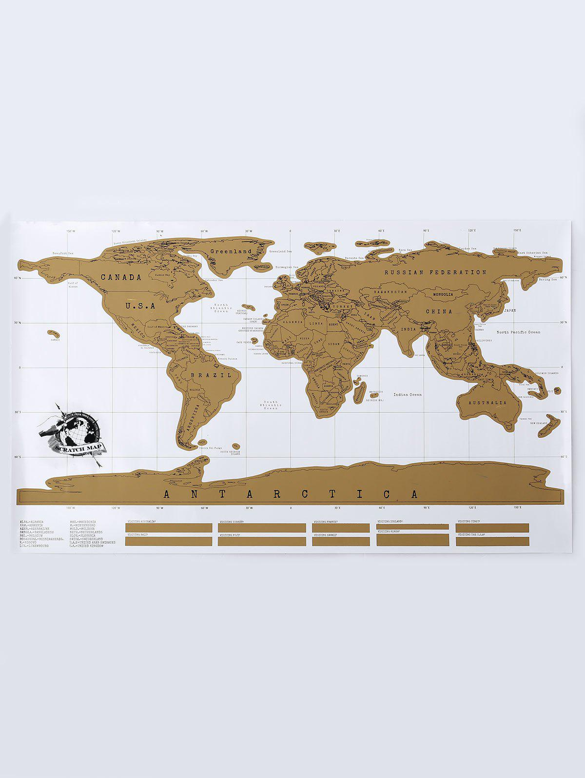 Scratch World Map Travel Edition OriginalHOME<br><br>Size: 88*52CM; Color: BRONZE-COLORED; Materials: Laminate, Card, Colored Foil.;