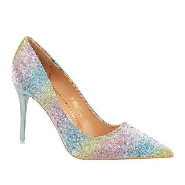 Cheap Mini Heel Glitter Pumps