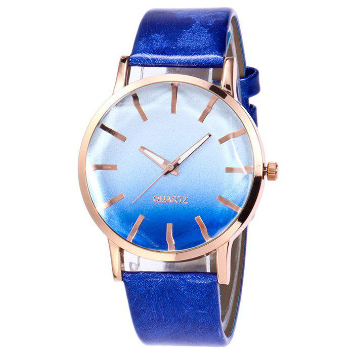Latest Faux Leather Band Ombre Quartz Watch