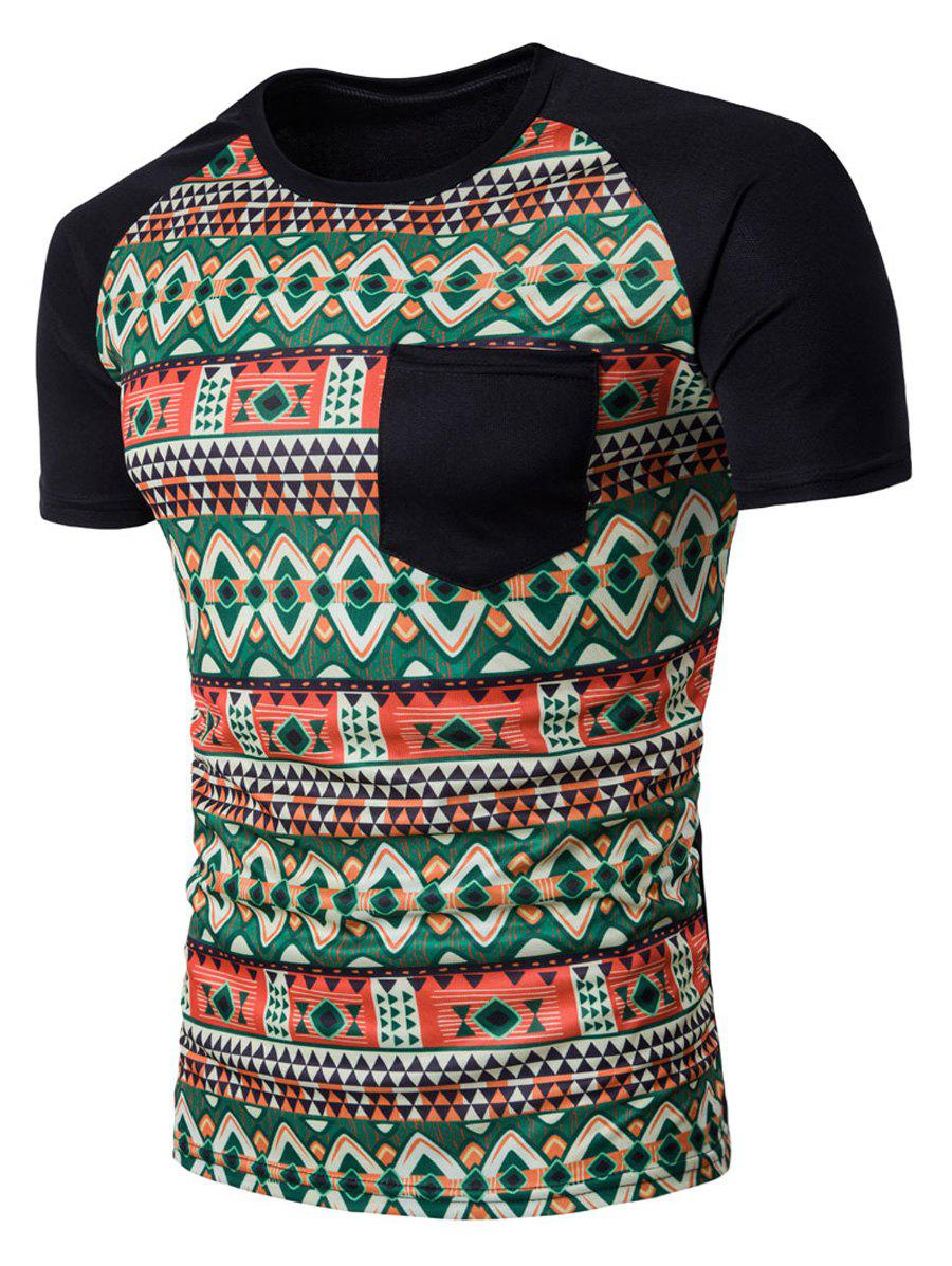 Sale Raglan Sleeve Color Block Tribal Print Pocket T-Shirt