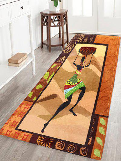 Figure Pattern Flannel Skid Resistant African Bathroom RugHOME<br><br>Size: 16*48 INCH; Color: BROWN; Products Type: Bath rugs; Materials: Flannel; Pattern: Figure; Style: Fashion; Shape: Rectangular; Package Contents: 1 x Rug;