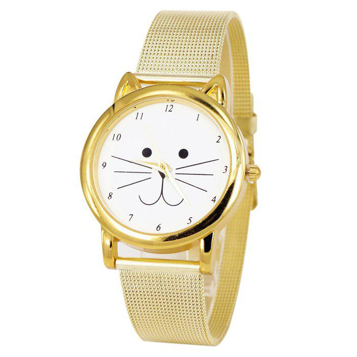 Cartoon Cat Face Number Analog WatchJEWELRY<br><br>Color: GOLDEN; Gender: For Women; Style: Fashion; Type: Quartz watch; Index Dial: Analog; Case material: Alloy; Band material: Alloys; Movement: Quartz; Dial Shape: Animal Shape; Water-Proof: No; Case Thickness(MM): 10mm; Dial Diameter: 3.5cm; Band Length(CM): 23cm; Band Width(CM): 1.8cm; Package Contents: 1 x Watch;