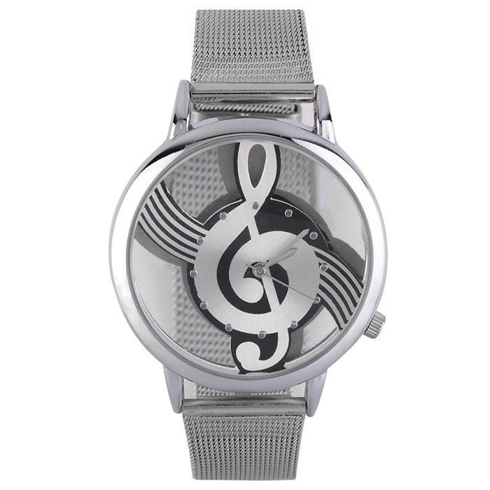 Steel Mesh Band Music Notation WatchJEWELRY<br><br>Color: SILVER; Gender: For Women; Style: Fashion; Type: Quartz watch; Index Dial: Analog; Case material: Alloy; Band material: Alloys; Movement: Quartz; Dial Shape: Round; Water-Proof: No; Case Thickness(MM): 10mm; Dial Diameter: 4cm; Band Length(CM): 23.5cm; Band Width(CM): 1.8cm; Package Contents: 1 x Watch;