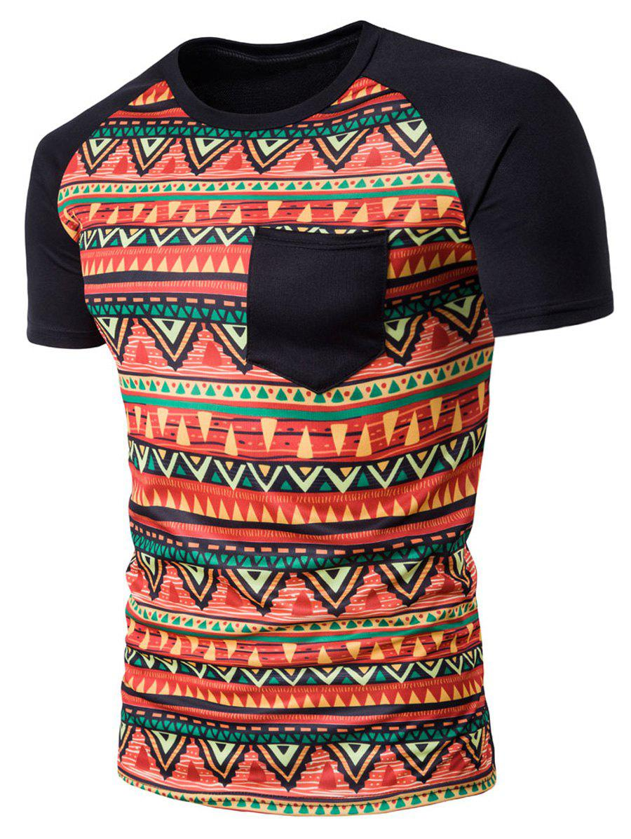 Fancy Crew Neck Geometric Tribal Print Pocket T-Shirt