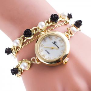 Faux Pearl Floral Number Wrap Bracelet Watch