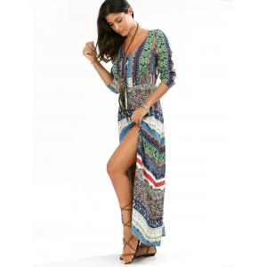 Maxi Slit imprimé Casual Flowy Beachwear Dress -