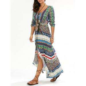 Maxi Slit Printed Casual Flowy Beachwear Dress
