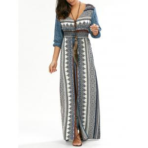 Boho Button Down Empire Waist Maxi Dress with Split - Blue - L