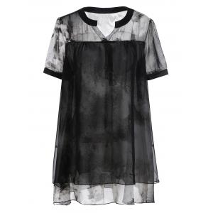 Plus Size Layered Chiffon Tie Dye Swing Top