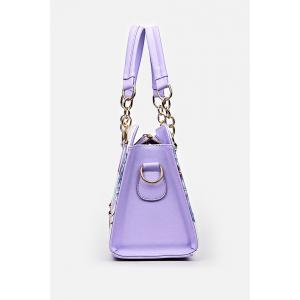 Metal Detail Flower Print Handbag - PURPLE