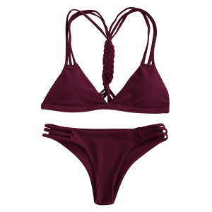High-Cut Hollow Out Women's Swimsuit Slip - WINE RED S