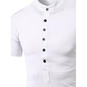 Stand Collar Splicing Design Short Sleeve T-Shirt For Men - WHITE XL