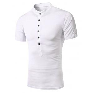Stand Collar Splicing Design Short Sleeve T-Shirt For Men
