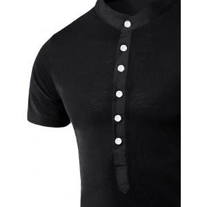 Stand Collar Splicing Design Short Sleeve T-Shirt For Men - BLACK XL