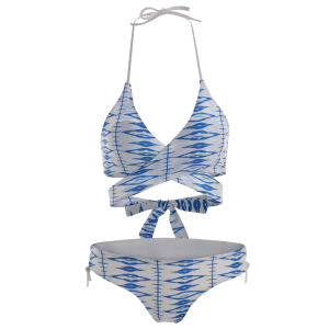 Halter Neck Printed Lace-Up Wrap Bikini - BLUE/WHITE S