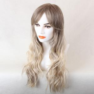 Long Beach Wave Colormix Oblique Bang Human Hair Wig - WHITE / GREY