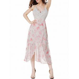 Tea Length Open Back Floral Slip Party Dress