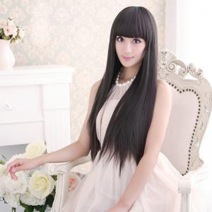 Long Silky Straight Neat Bang Dyeable Synthetic Party Wig