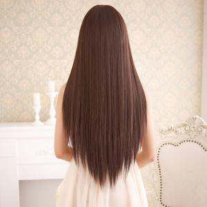 Long Silky Straight Neat Bang Dyeable Synthetic Party Wig - DEEP BROWN